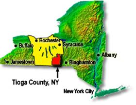 Map of Tioga County, NY